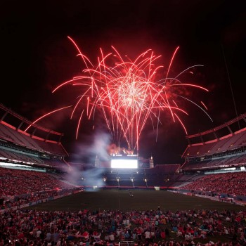 DENVER, CO - JULY 4:  Fans are treated to a fireworks display after a Major League Lacrosse game between the Ohio Machine and Denver Outlaws at Sports Authority Field at Mile High on July 4, 2012 in Denver, Colorado. The Outlaws defeated the Machine 17-13.  (Photo by Justin Edmonds/Getty Images) ORG XMIT: 141680053